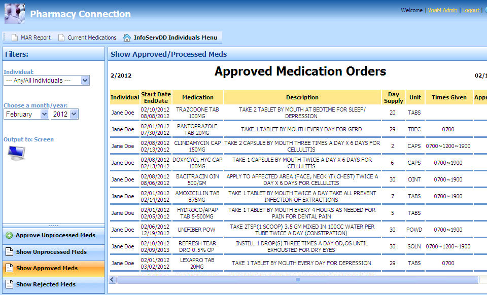 Approved Medication Orders